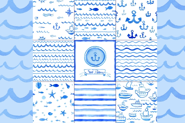Watercolor Nautical Pattern