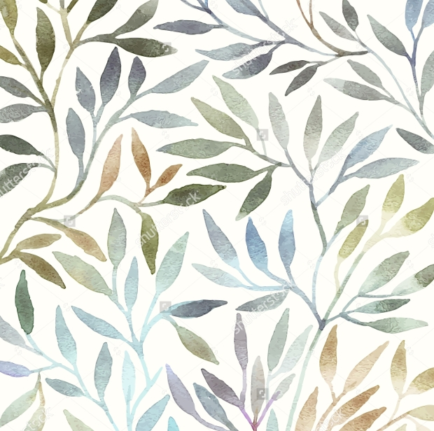 Beautiful Leaves Watercolor Pattern