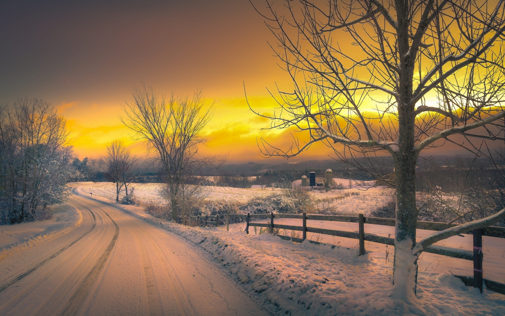 winter sunset wallpaper1