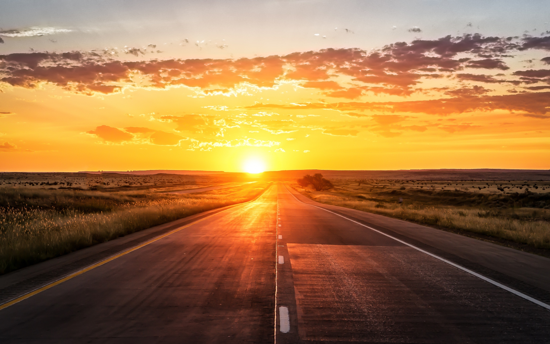 road sunset wallpaper