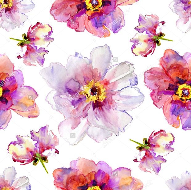 Peony Flowers Watercolor Pattern