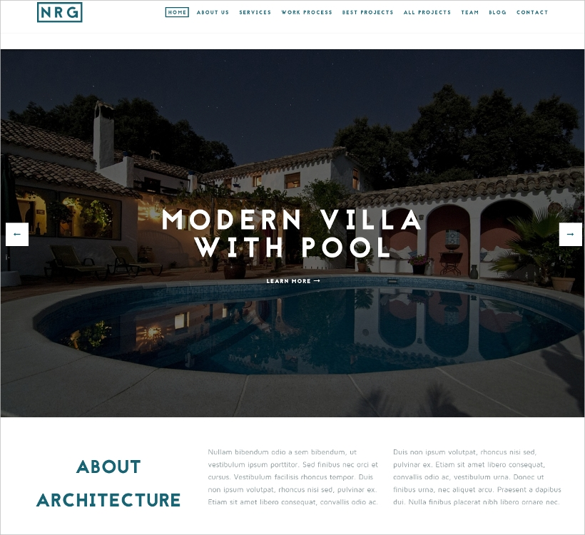 Architecture Business OnePage Theme