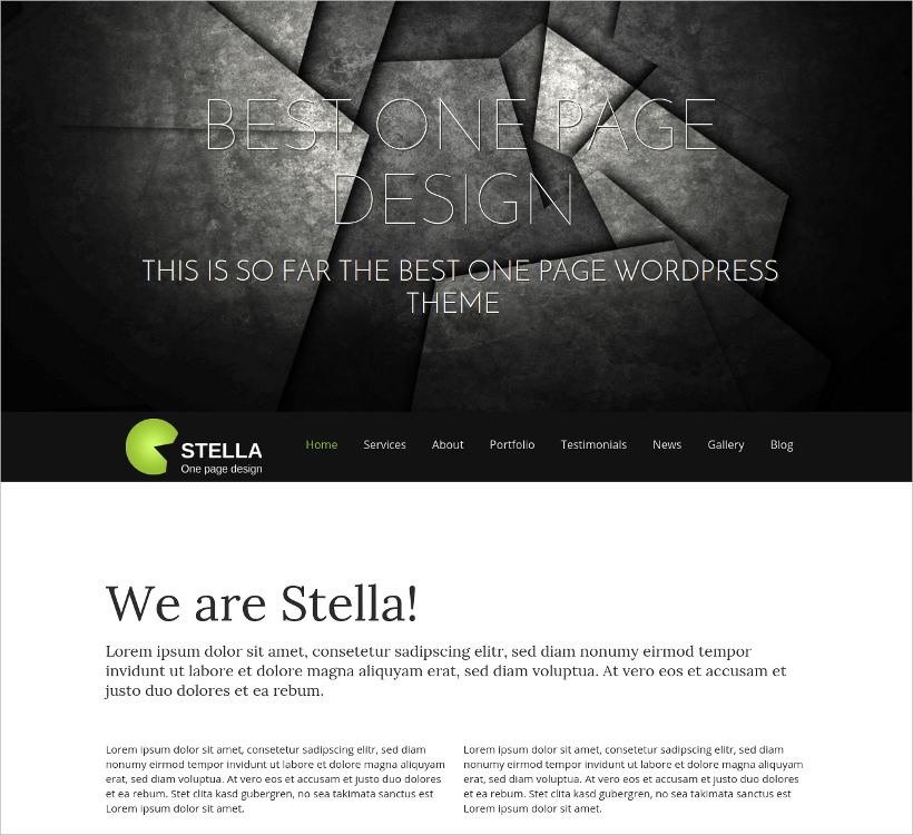Stella Responsive WP One Page Theme