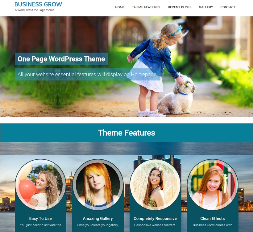 WordPress Theme with Parallax Scrolling Effect