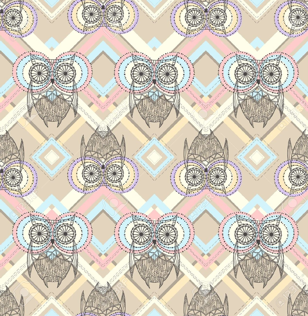 Aztec Pattern With Owls