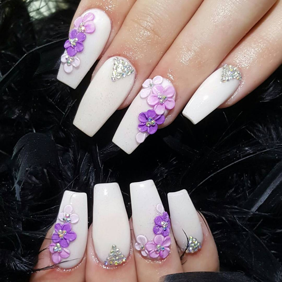 3d attractive flowers nail design art