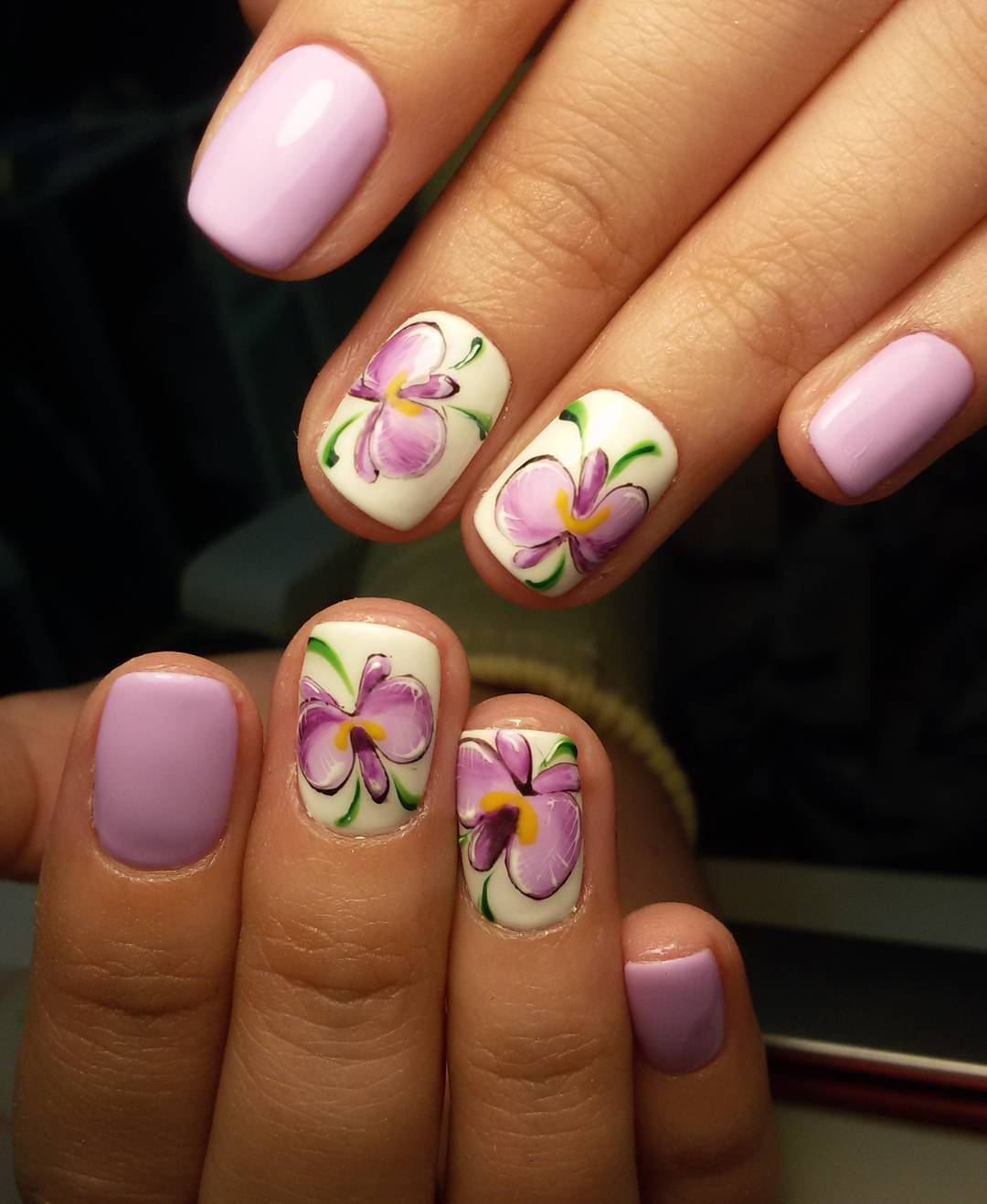 beautiful purple nail design pattern