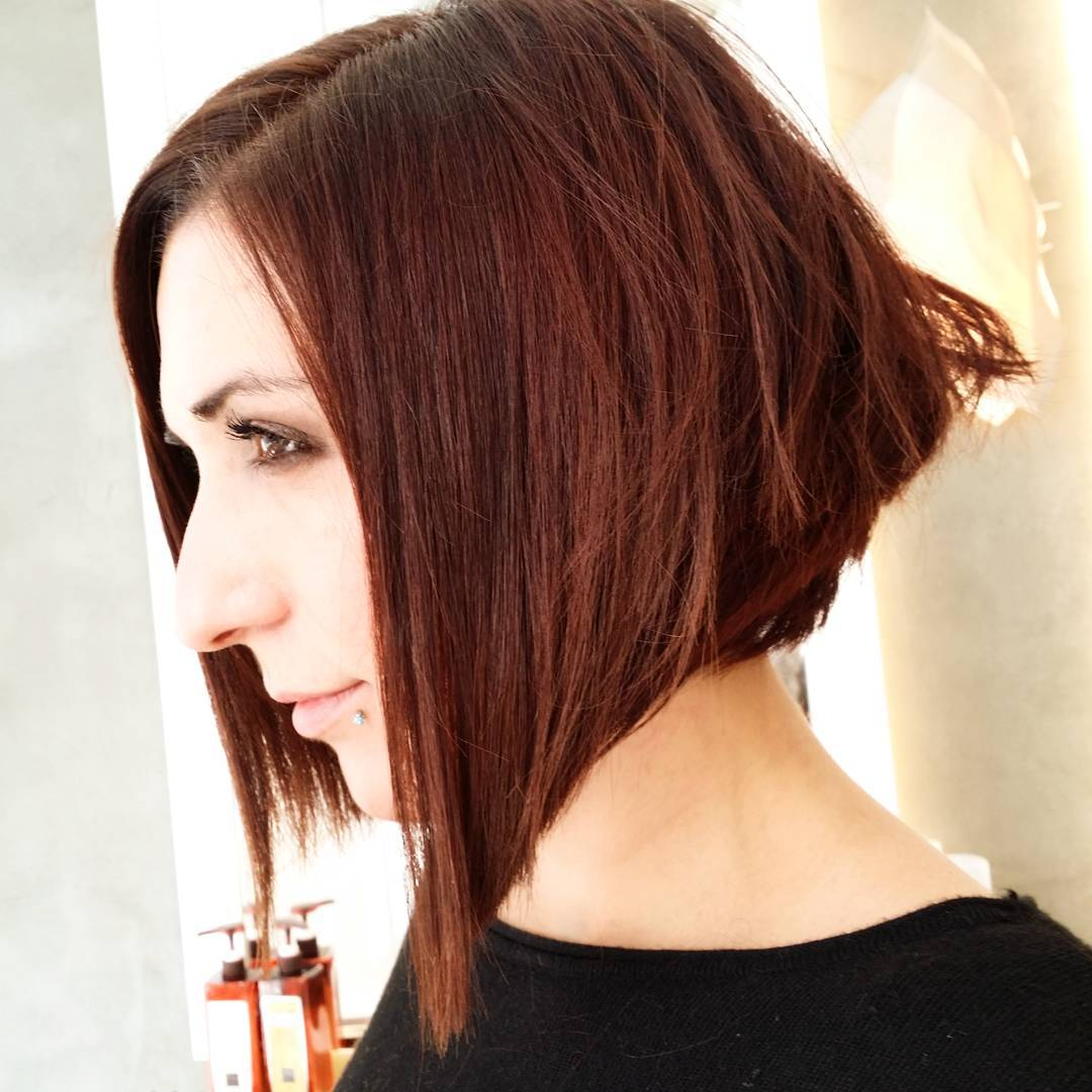 Chocolate Copper Color Bob Haircut