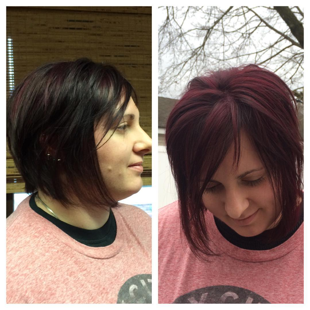 Red Colored Edgy Bob Hairstyle For Women.