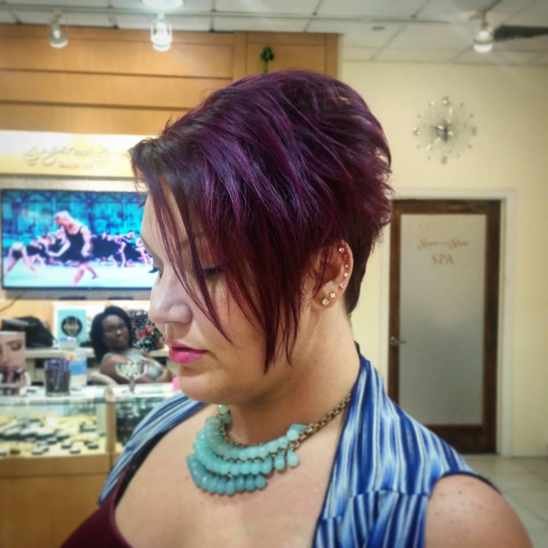 Purple Bob Hairstyle For Round Face