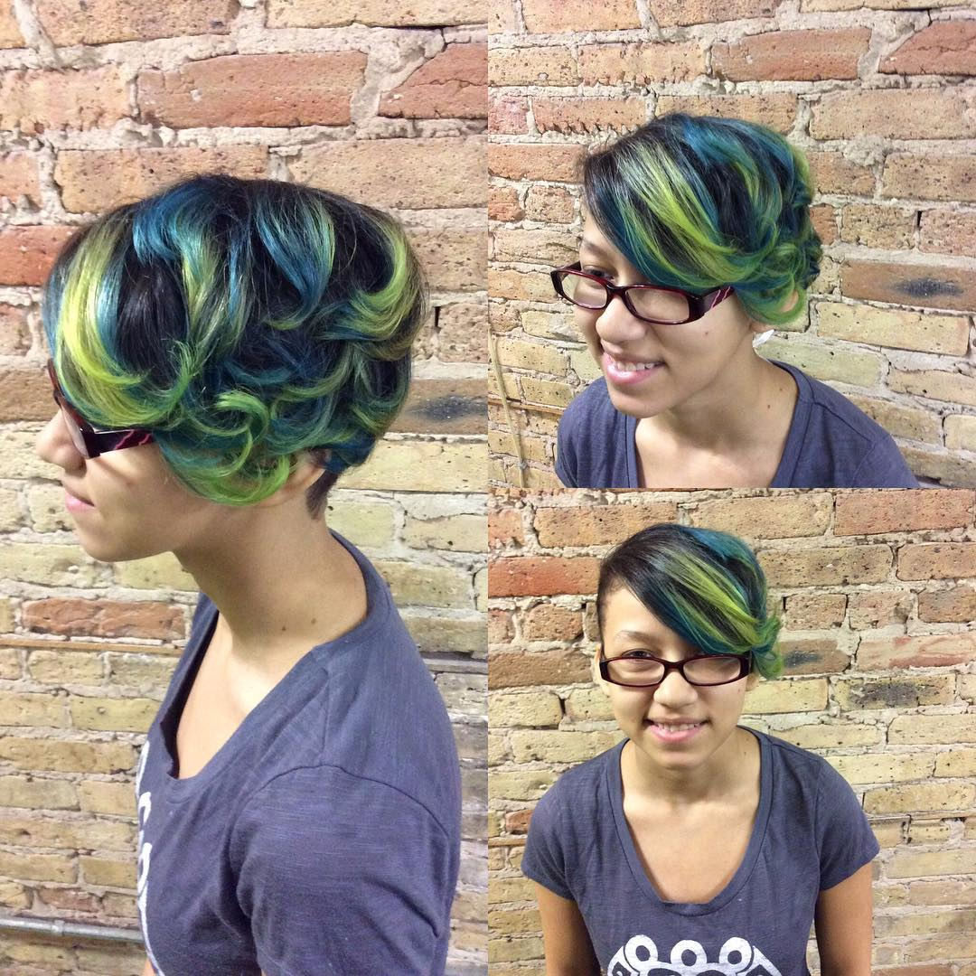 Fun Colored Curly Edgy Hairstyle.