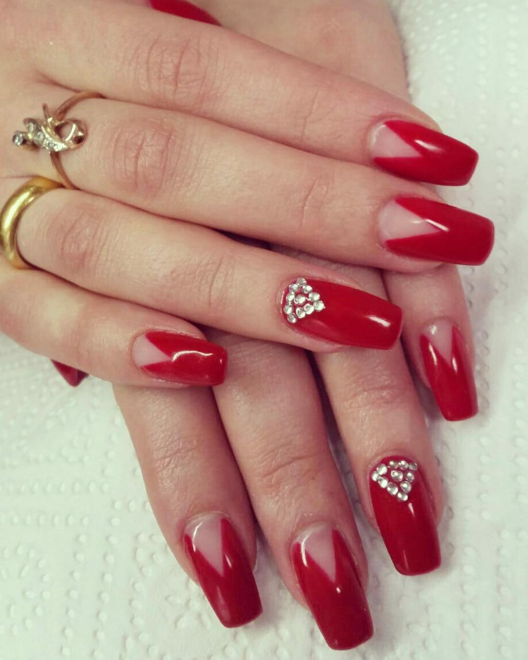 White Stones Design Red Nail Art
