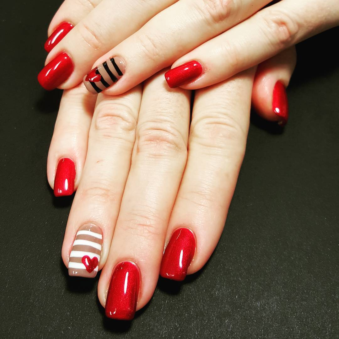 Tiny Red Heart Design Nail Art For Nail Art Lovers