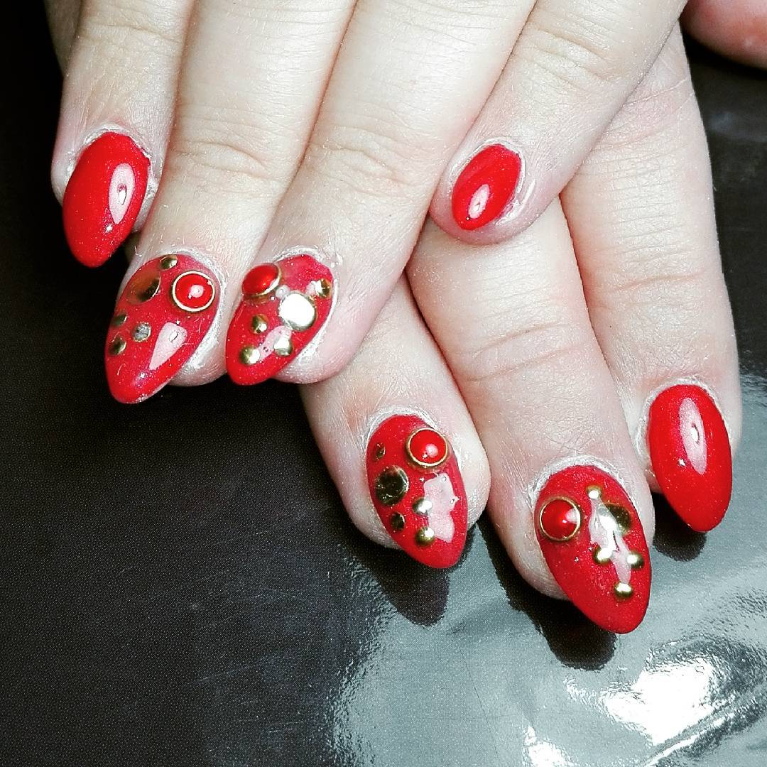 Designed Red Nail Art For Parties