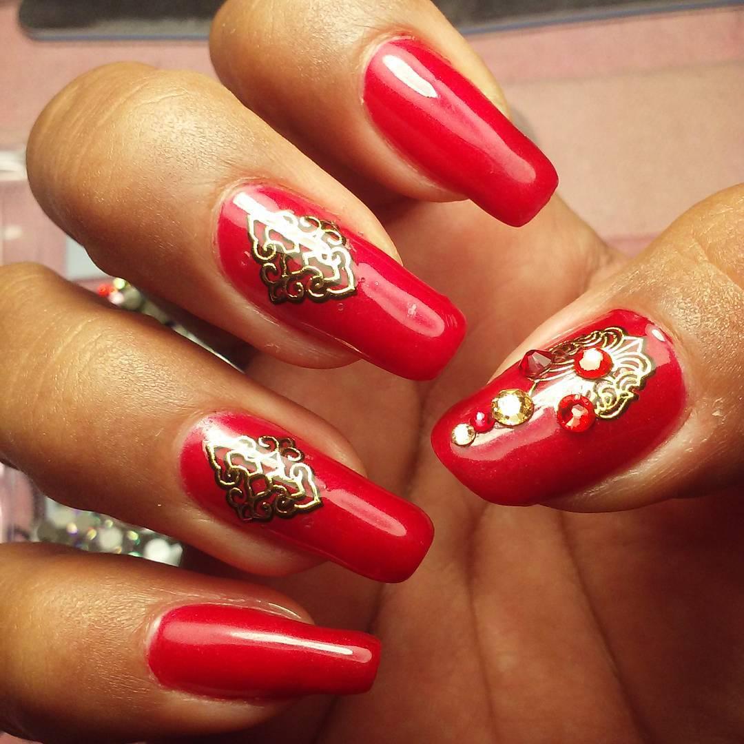 Christmas Finger Nail Art: 29+ Red Finger Nail Art Designs , Ideas