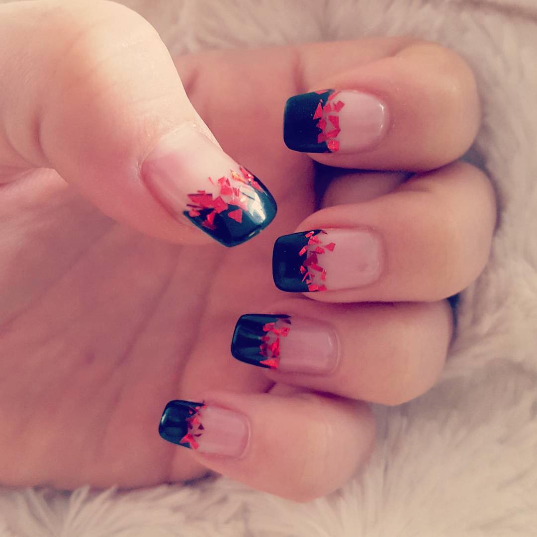 Black and Red Tip Nail Design