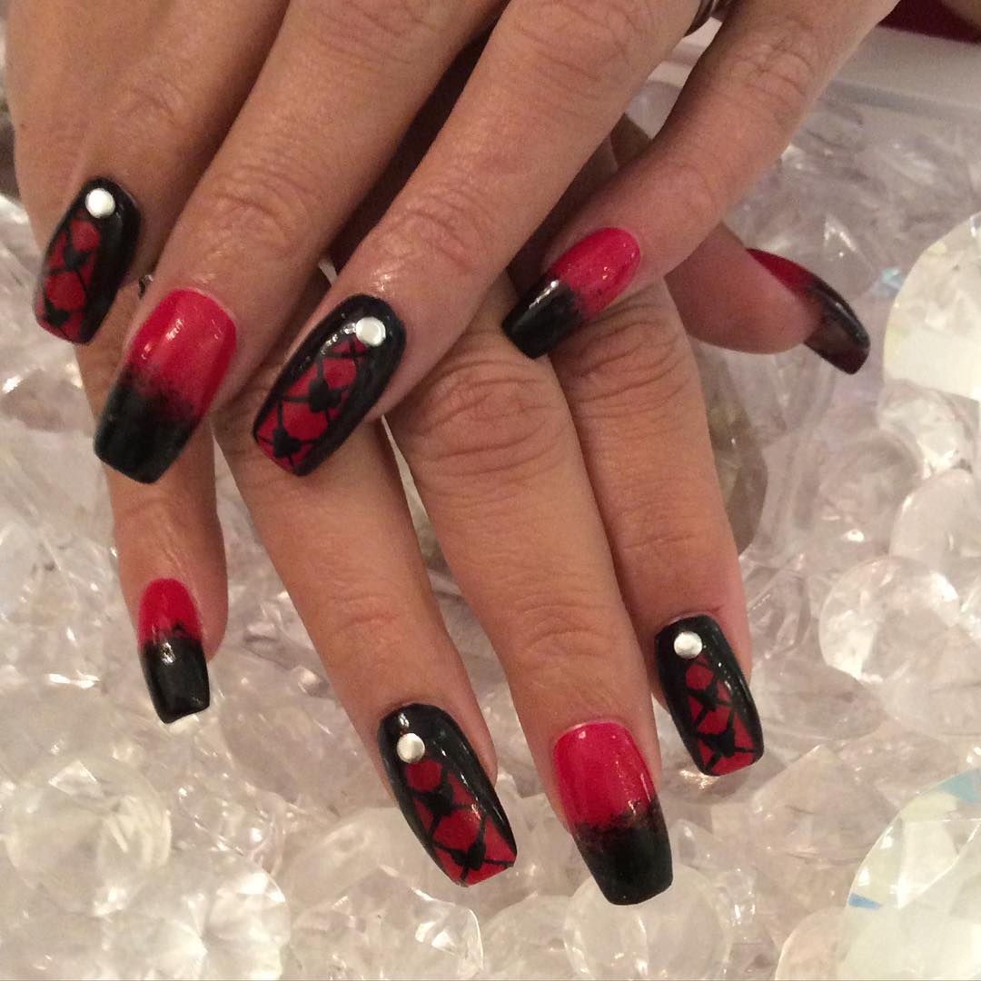 Nail art designs besides red nail art designs on top nail art images - Black Red Gel Polish Nail Arts