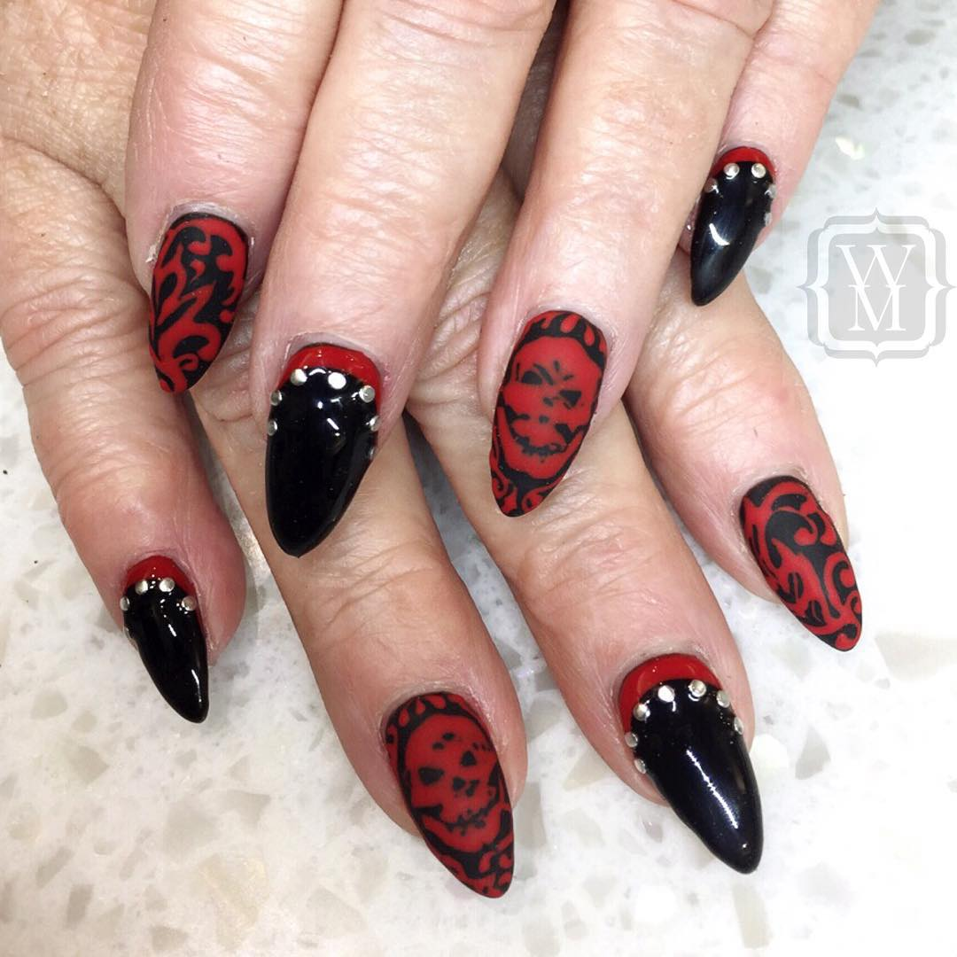 27+ Black and Red Nail Art Designs | Design Trends ...