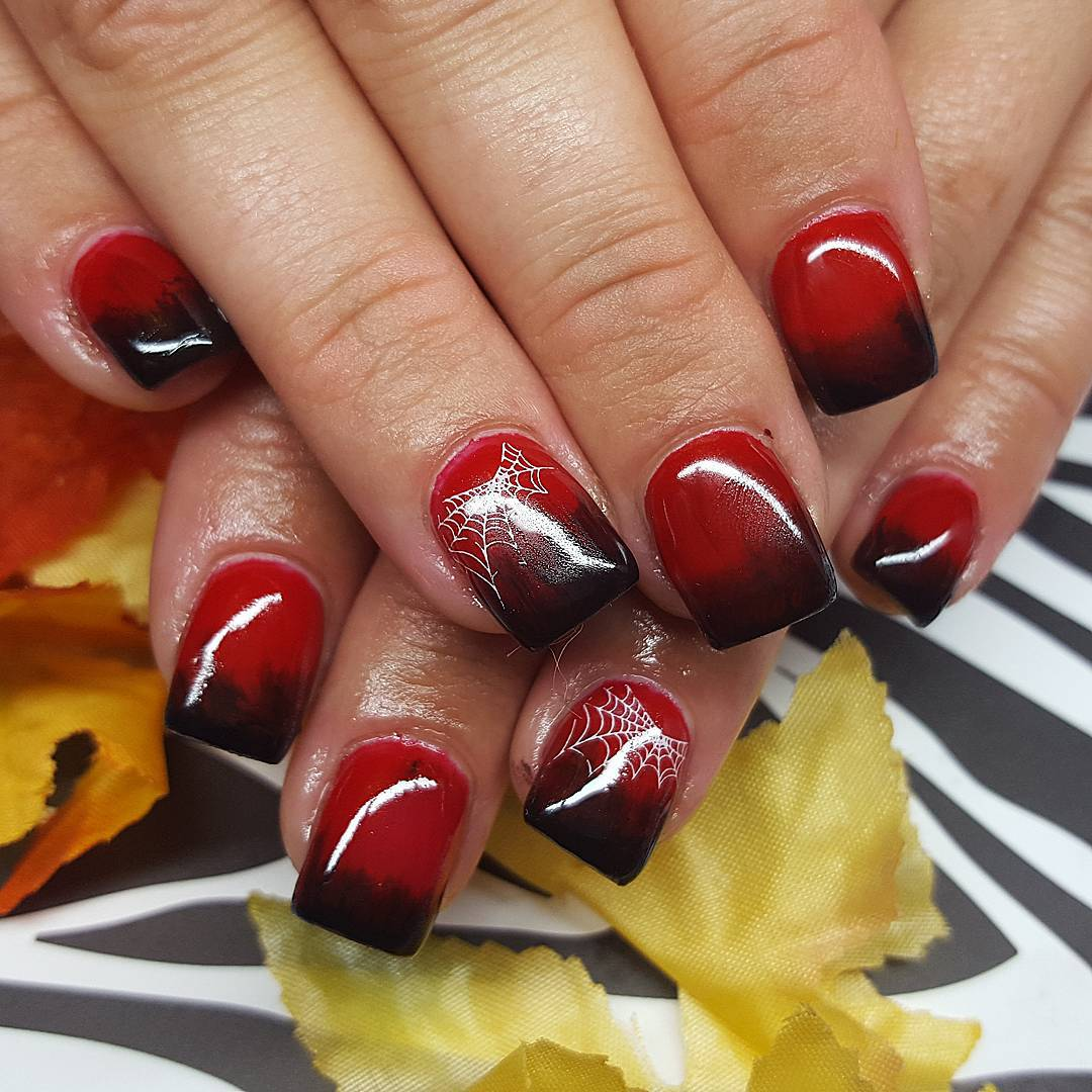 Spider Web Black and Red Nails