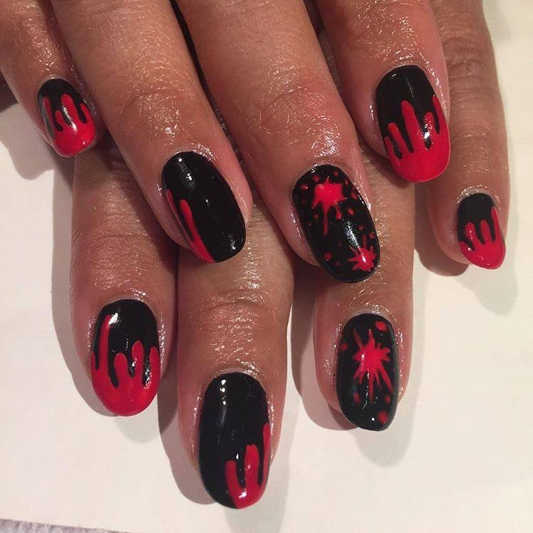 sparkling design on colored nails