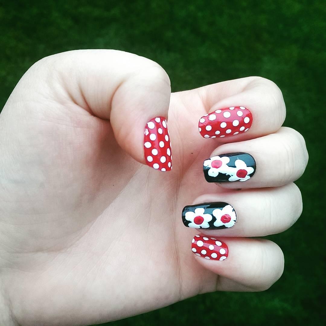Polka Dots and Flowered Nail Art