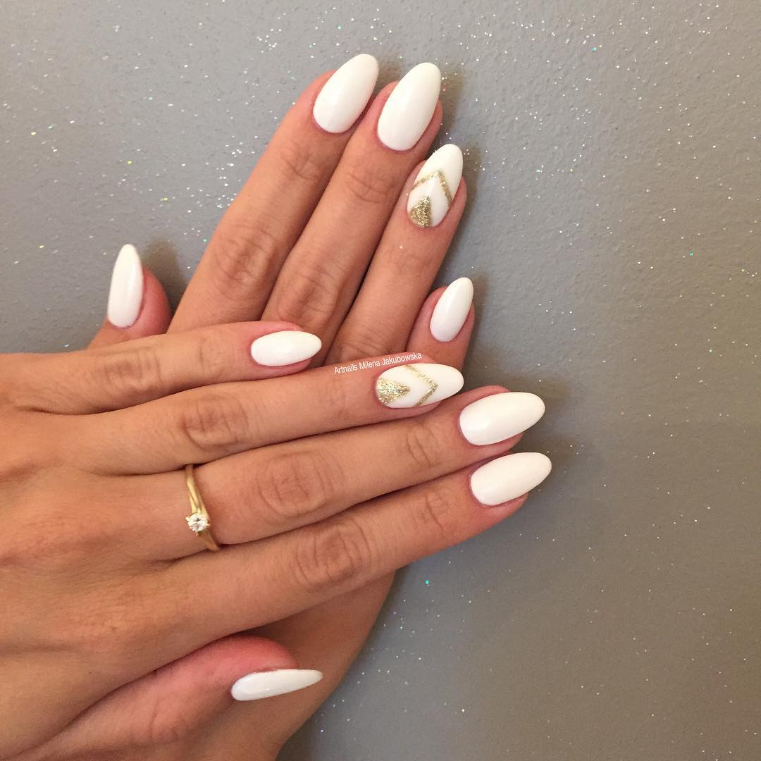 Gold and White Nail Designs - 27+ White Color Summer Nail Designs, Ideas Design Trends