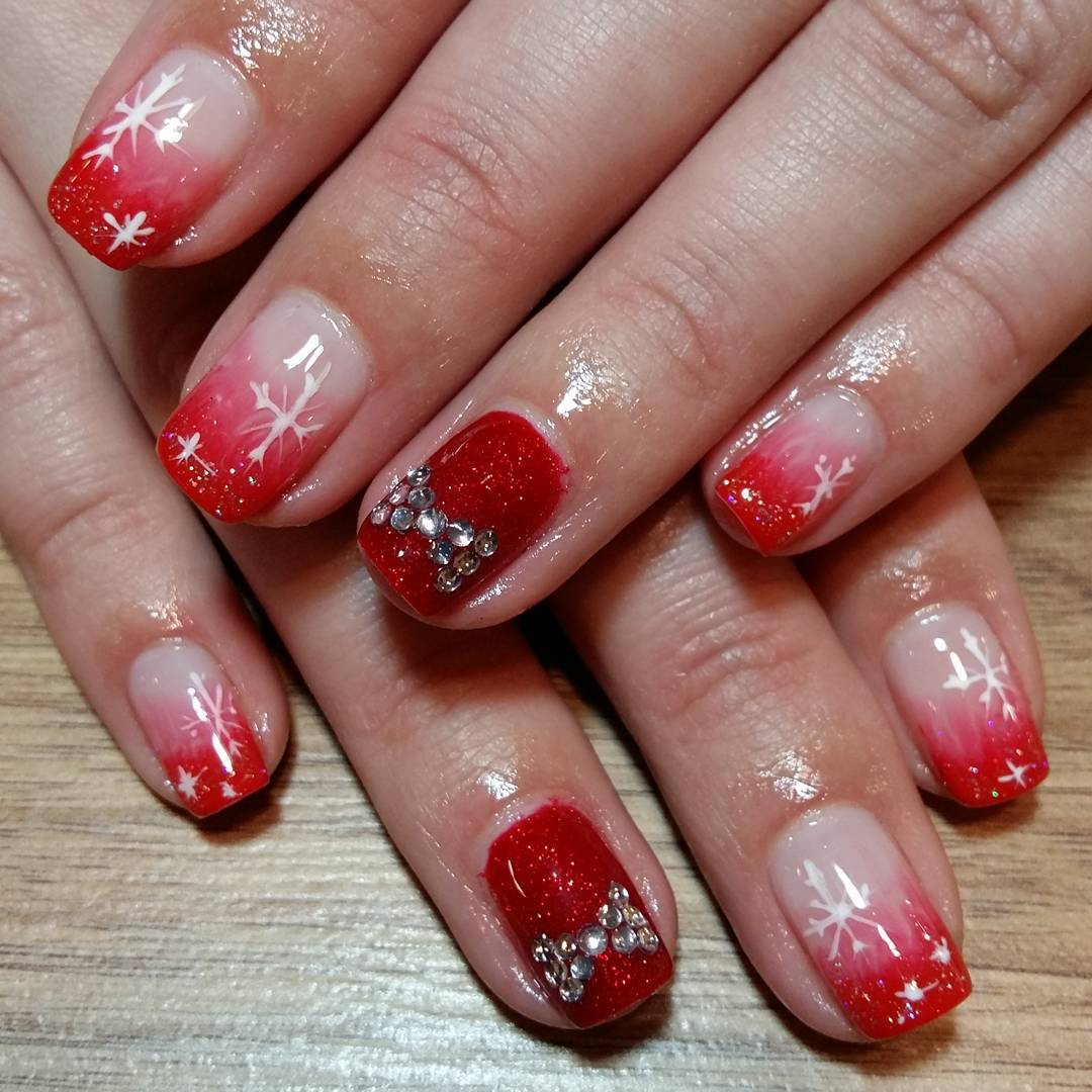 designed red nail art design for wedding