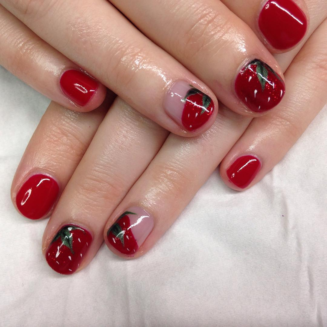 attractive red nail art for short nails