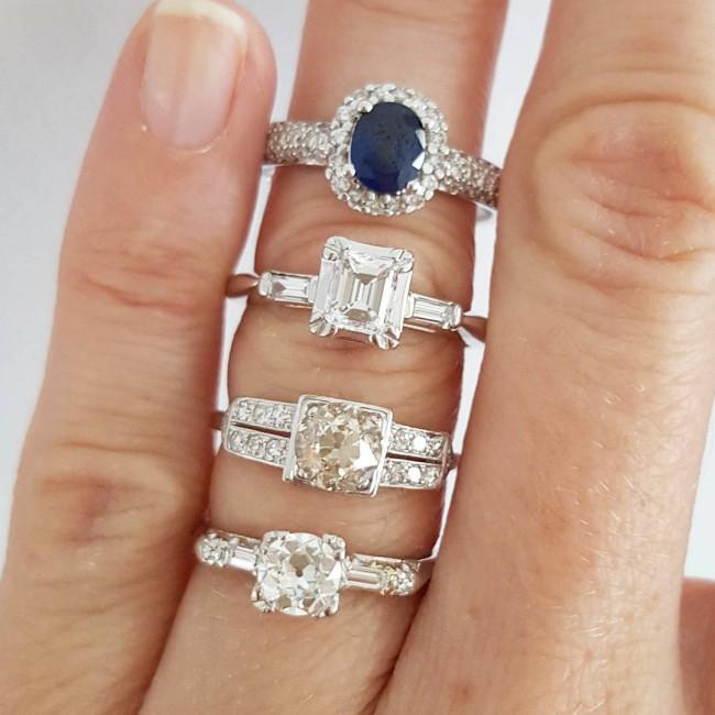 Antique Diamond and Platinum Engagement Ring