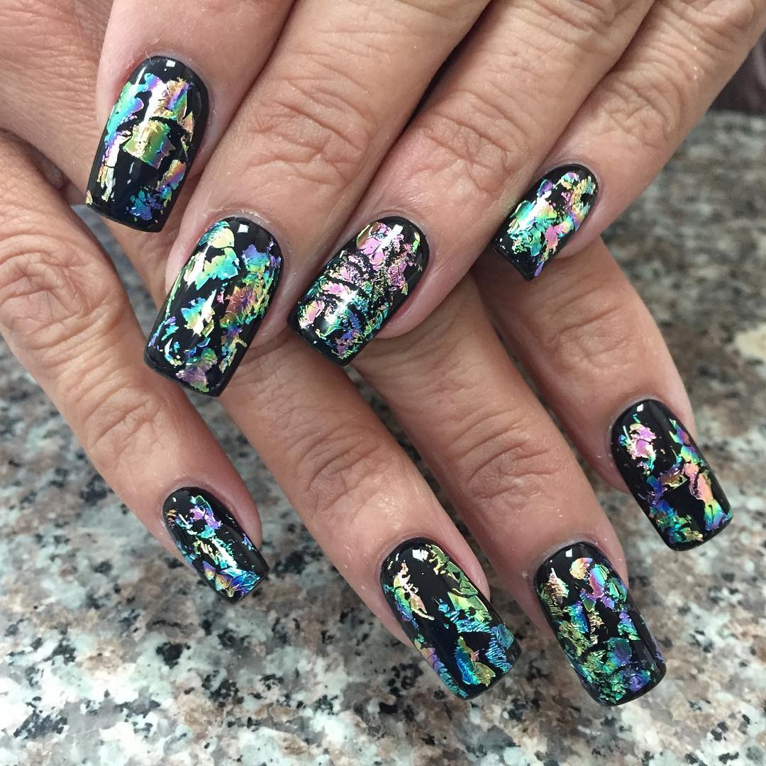 Rainbow Foil Black Colored Summer Nails