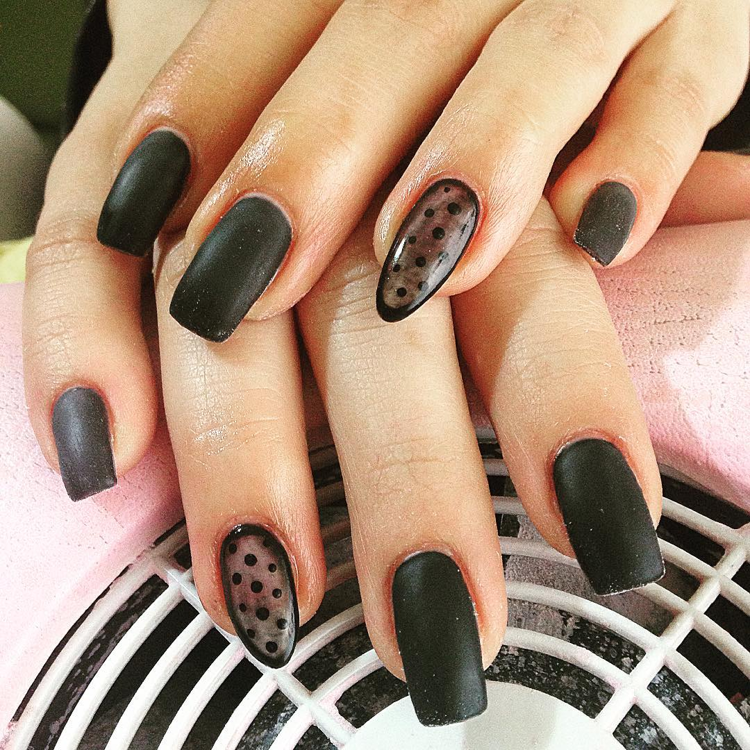 matte black nails art design