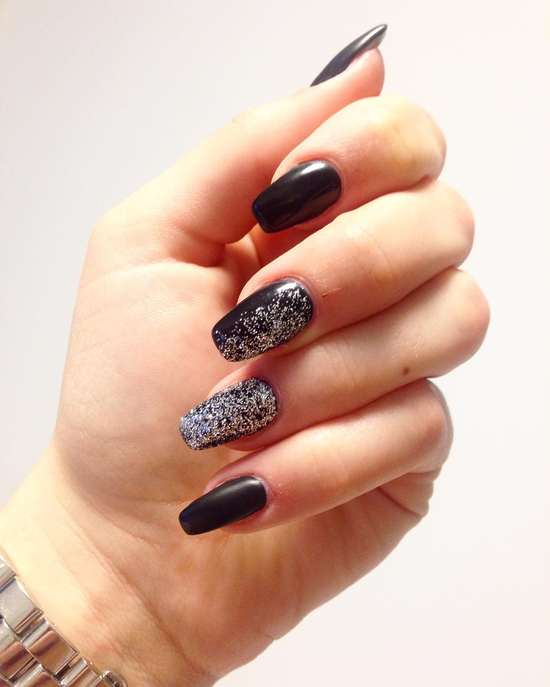 black summer nails with silver glitter