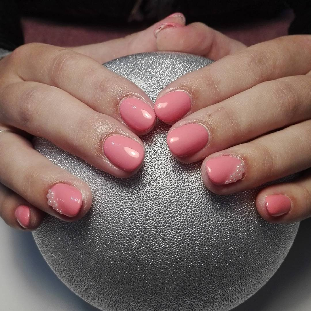 Light Pink Summer Nail Design For short Nails