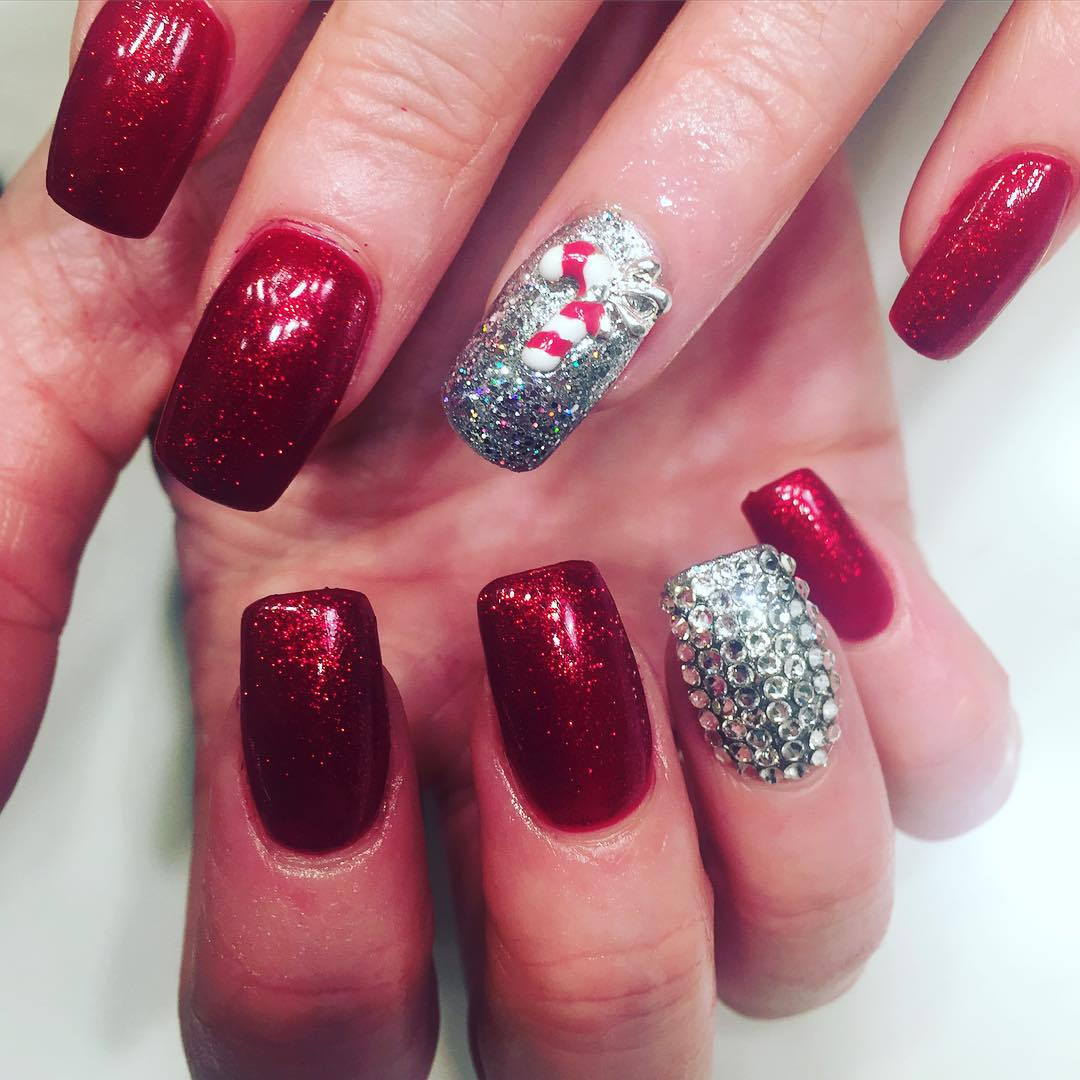 26+ Red and Silver Glitter Nail Art Designs , Ideas | Design Trends