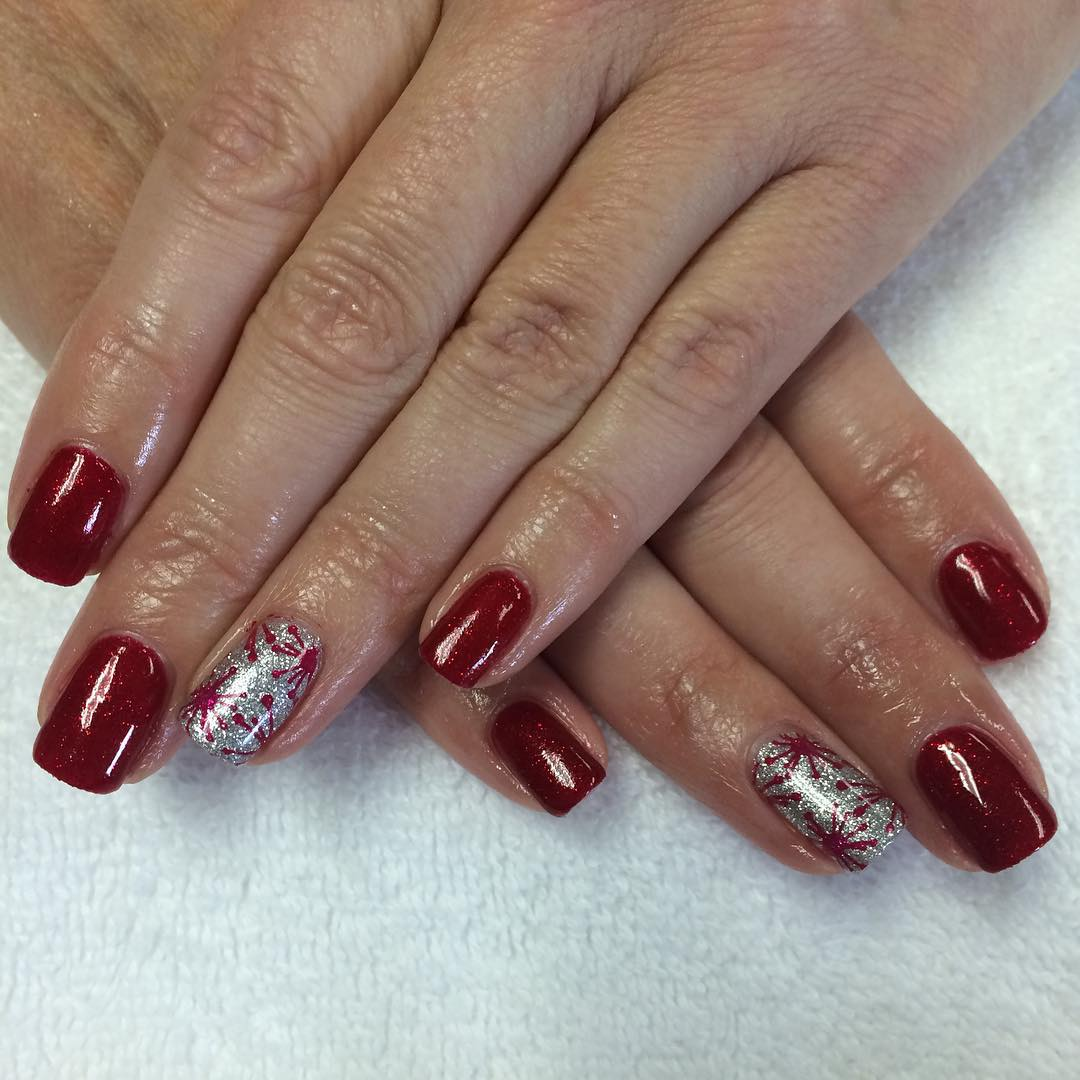 red and sliver glitter nail art for all kind of parties