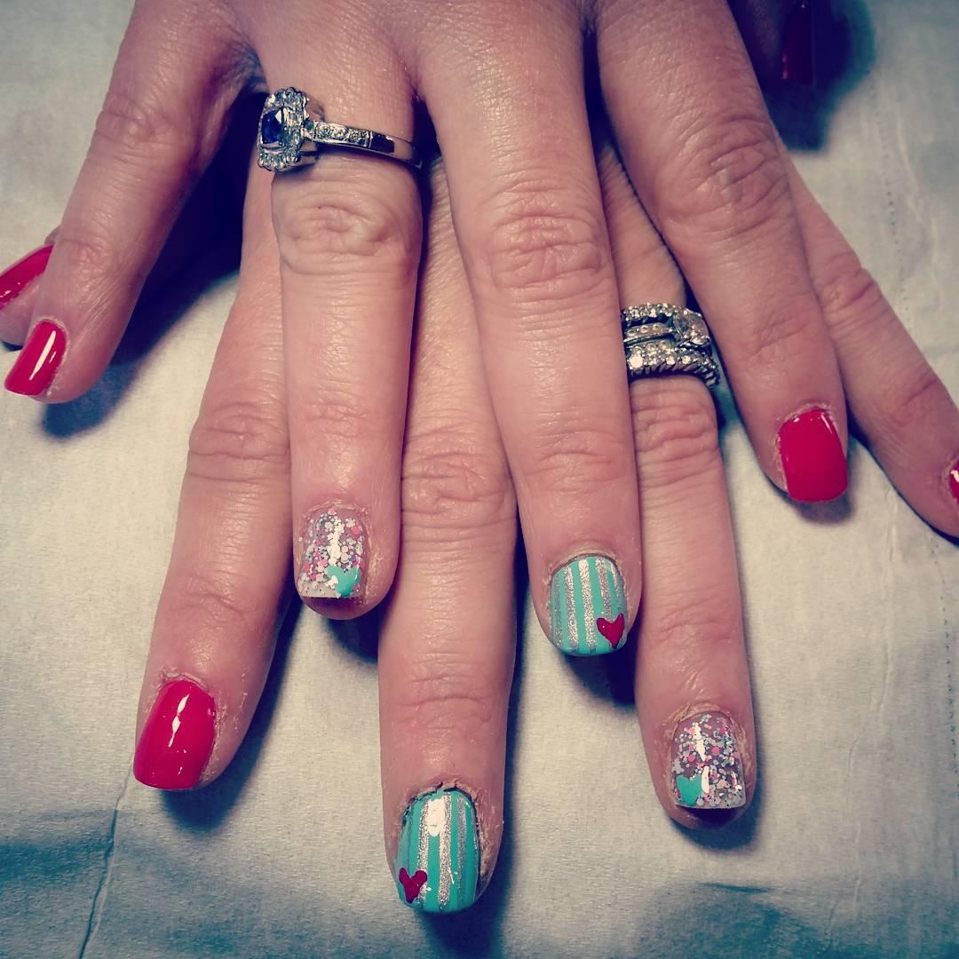 Multi Color Silver Glitter Nail Design