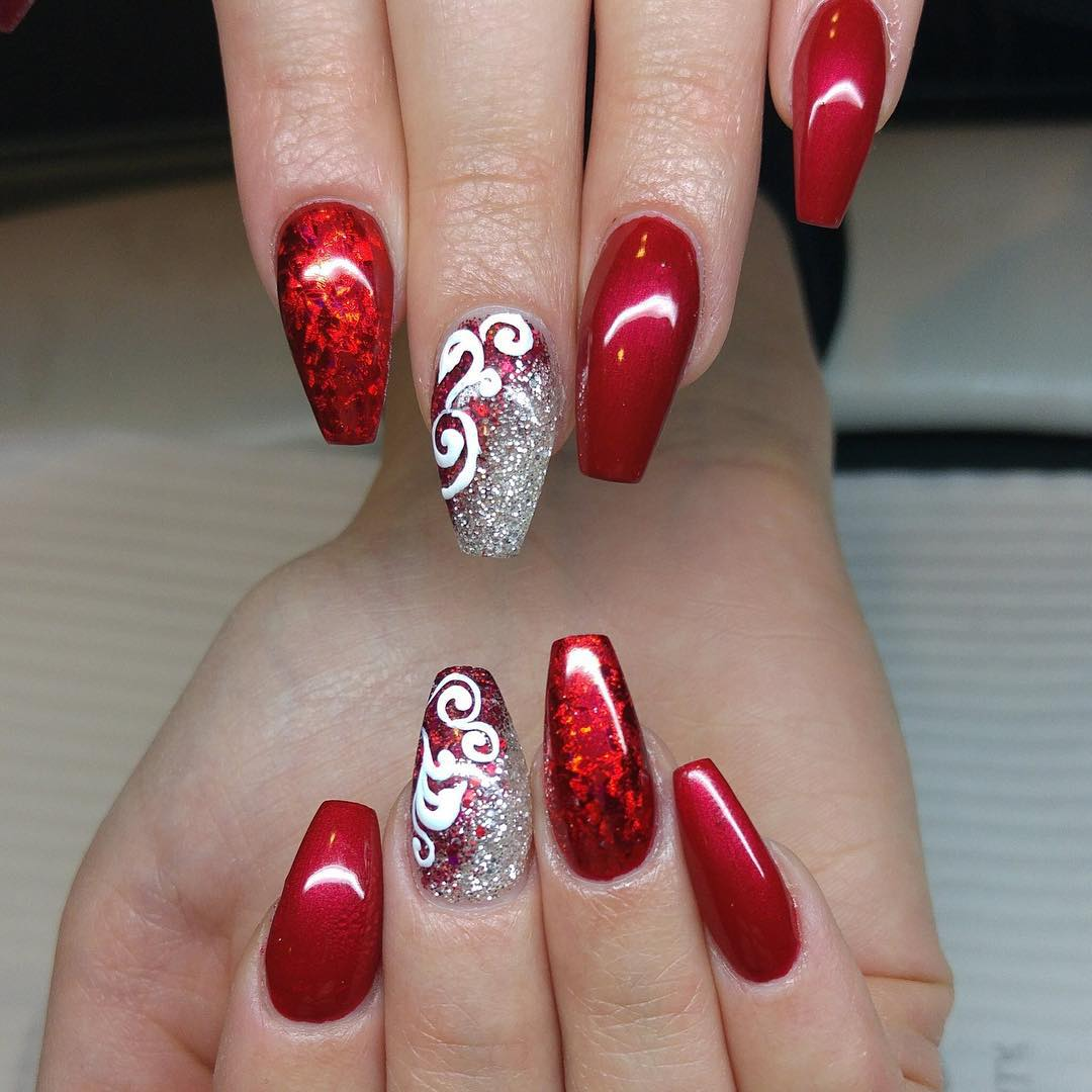 Red Nail Art Designs For Short Nails: 26+ Red And Silver Glitter Nail Art Designs , Ideas