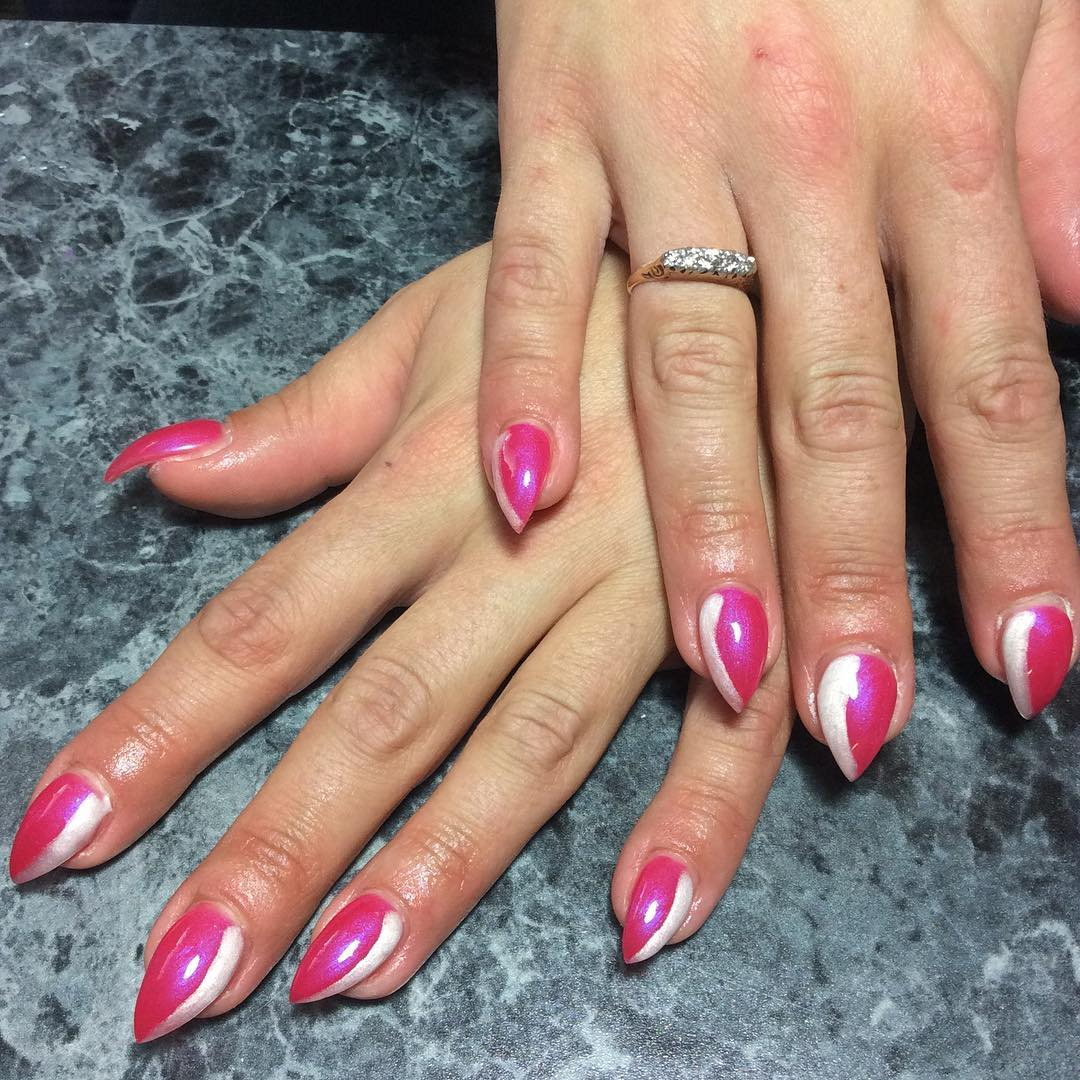Easy Pointed Pink Nail Design