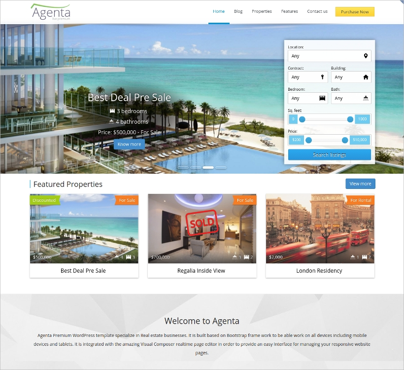 Agenta Responsive Real Estate WordPress Theme