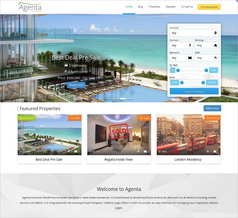 agenta responsive real estate wordpress theme