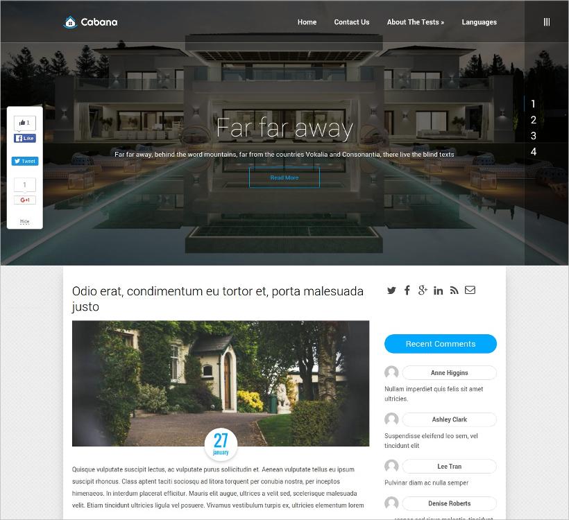 horizontal menu real estate theme