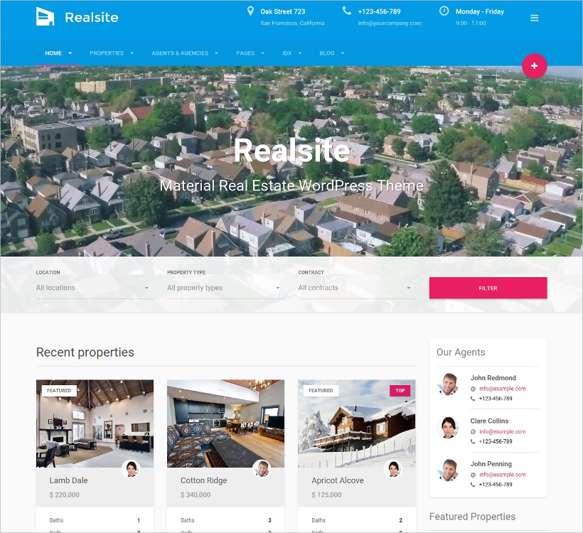 Material Real Estate WordPress Theme