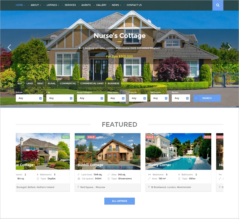 multi purpose real estate wordpress template