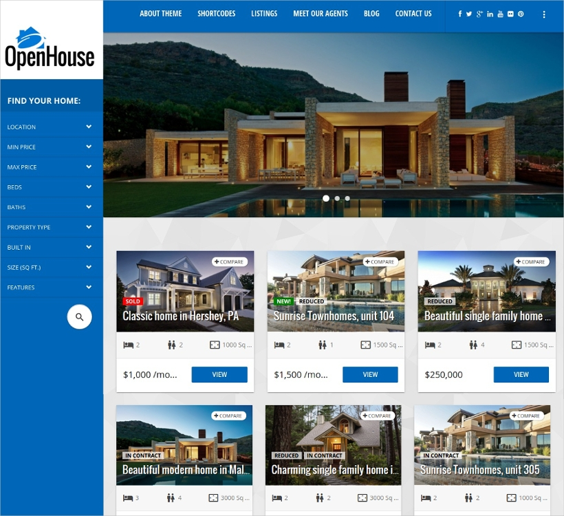 OpenHouse Real Estate WordPress Theme