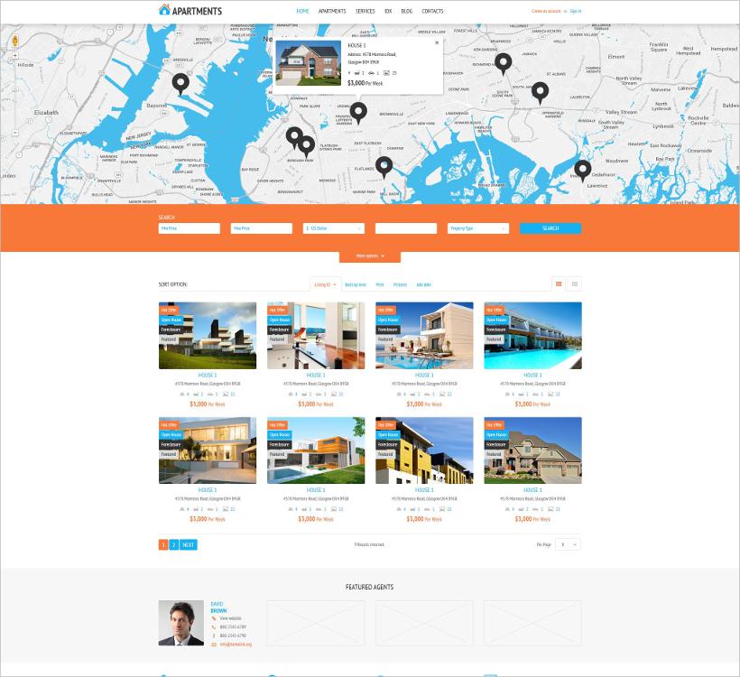real estate rental wordpress theme