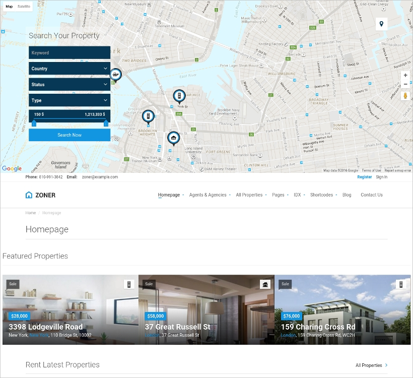 real estate theme with map support