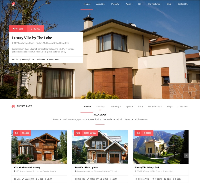 Real Estate with Front end Submission WordPress Theme