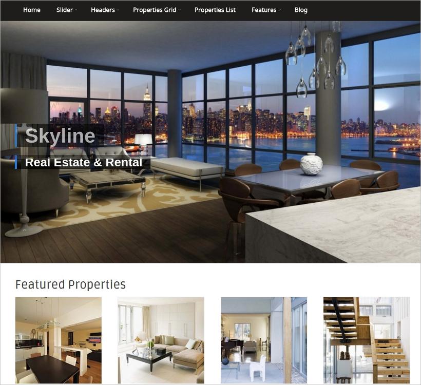 skyline real estate wordpress theme