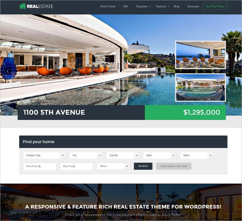 vacation rental real estate wordpress theme