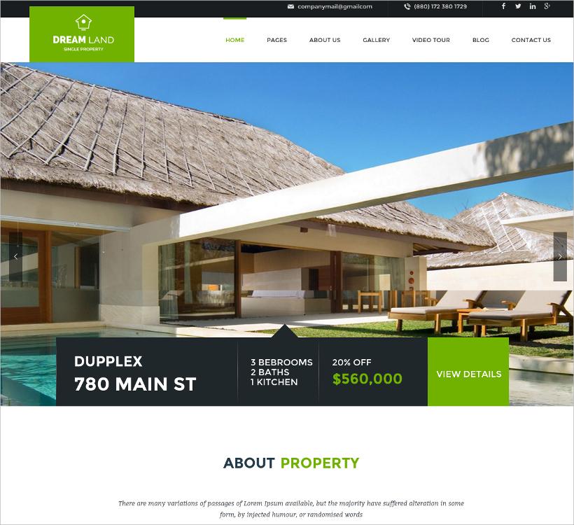 wordpress real estate business template